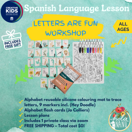 creative kids voucher, creative kid voucher, free kit, free bundle, letters, literacy, english, spanish, learning, educational, school readiness, abc, flash cards, hey doodle, jo colliers, hola nanu, gov vouchers,